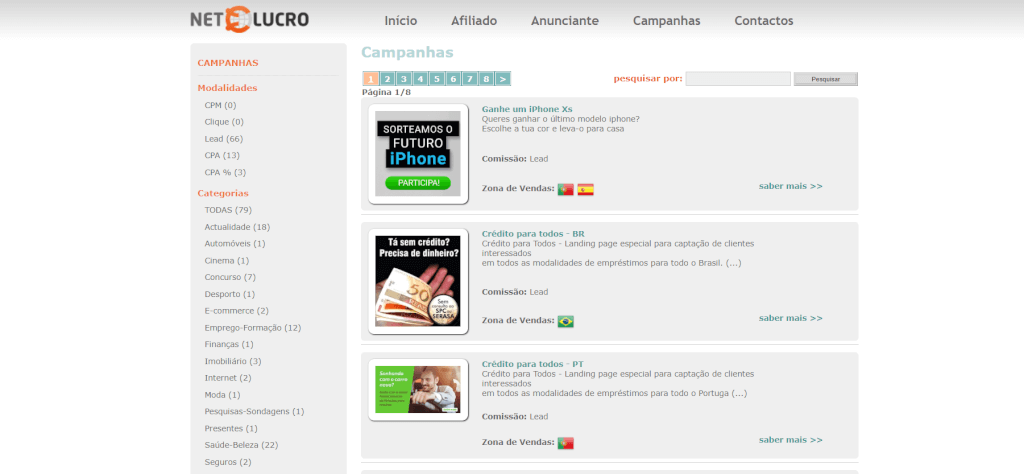 NetLucro a sua plataforma de afiliação totalmente de Portugal