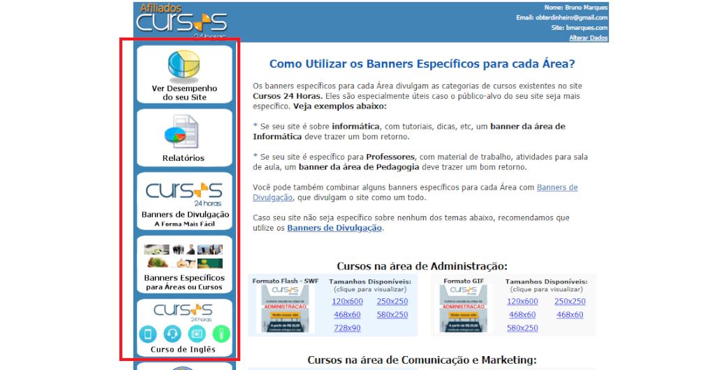 Cursos 24 horas programa de afiliados o website de formação profissional